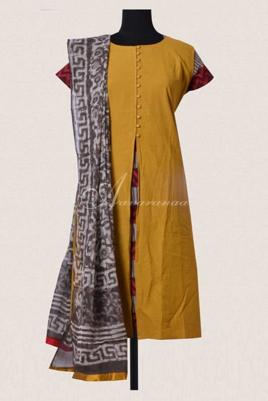 Oil mustred and grey layerd top and dupatta-0