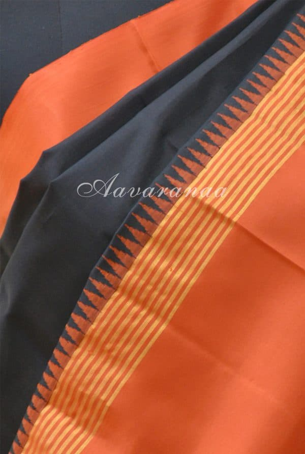 Black and Orange kanchi silk saree-19504