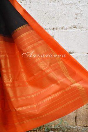 Black and Orange kanchi silk saree-19502