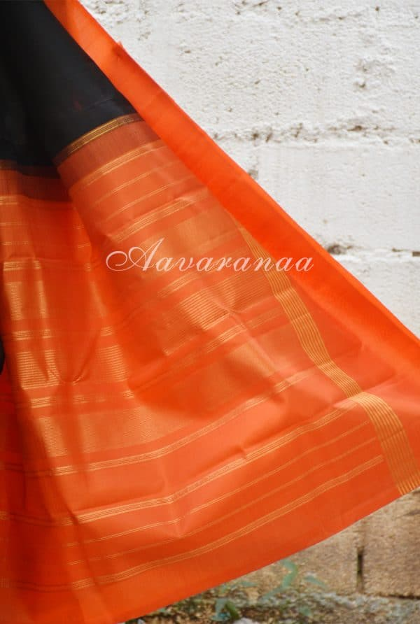 Black and Orange kanchi silk saree-19502