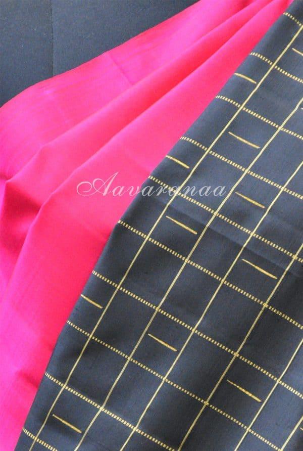 Pink and black checks long border silk saree-19509