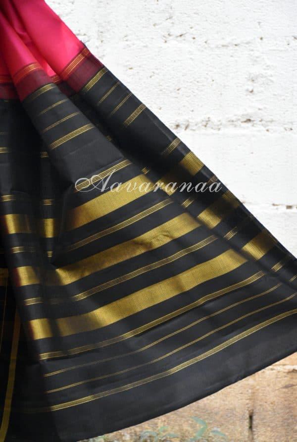 Pink and black checks long border silk saree-19506
