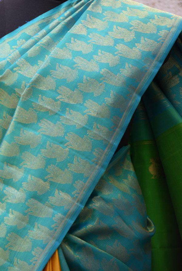 Teal and yellow muthra kanchi silk saree-19390