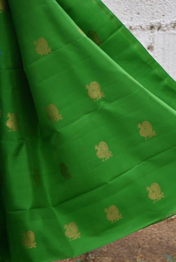 Teal and yellow muthra kanchi silk saree-19388