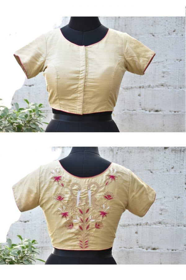 Beige raw silk hand embroidered blouse-0