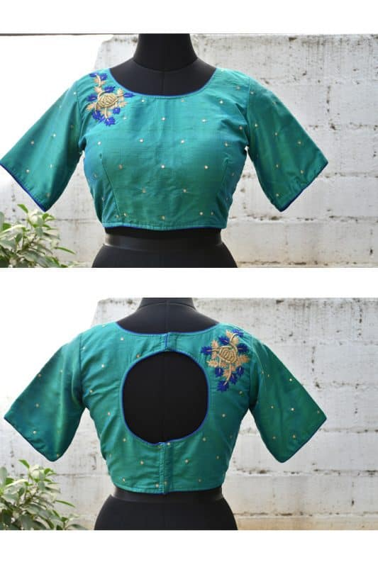 Teal green embroidered silk blouse-0
