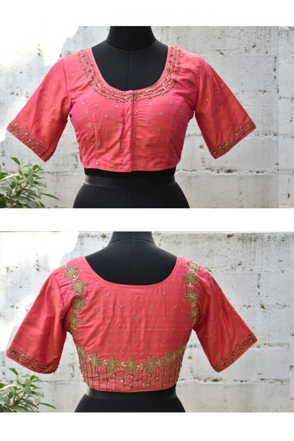 Peach raw silk hand embroidered blouse-0