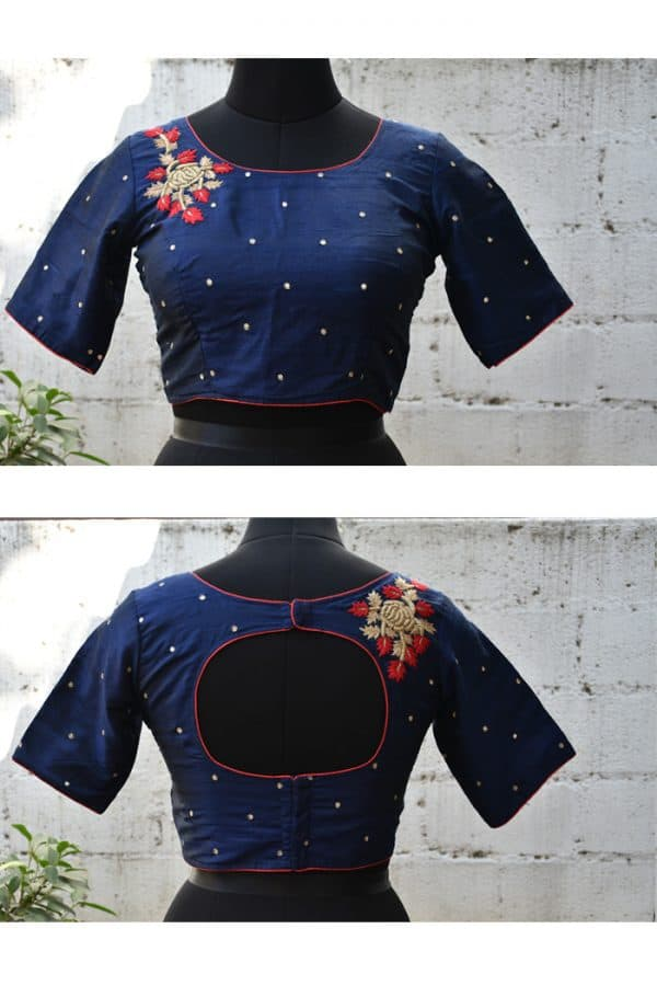 Navy blue hand embroidery raw silk blouse -0