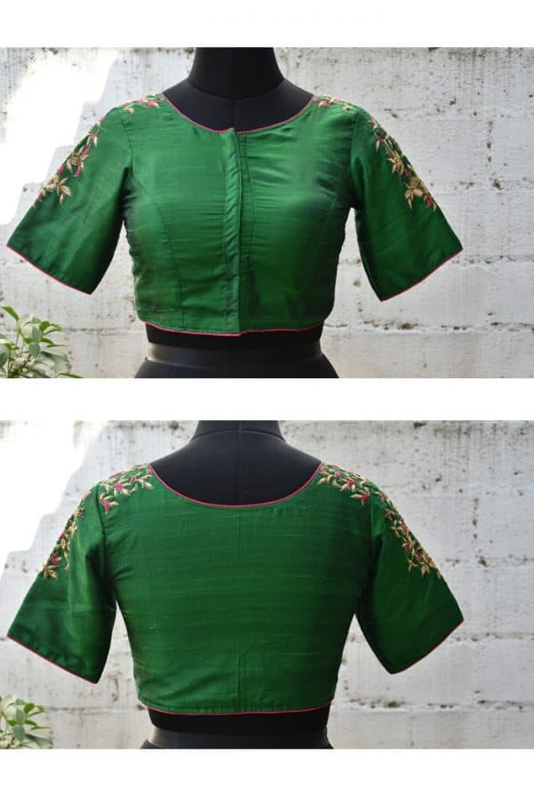 Green hand embroidery raw silk blouse-0