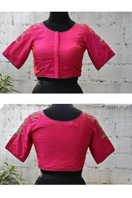 Pink hand embroidery raw silk blouse-0