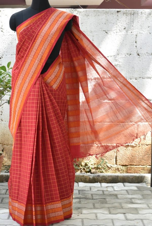 Red checks woven kanch cotton saree-0