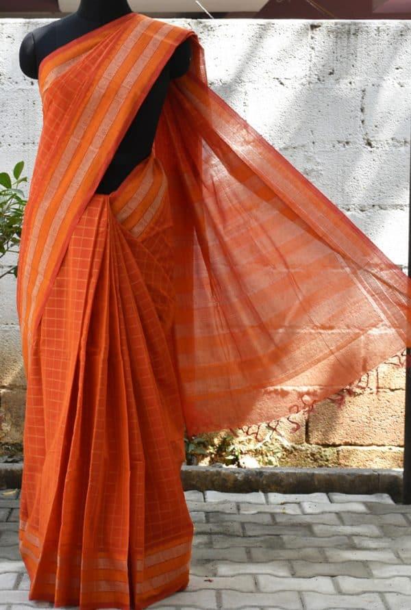 Orange checks woven kanch cotton saree-0