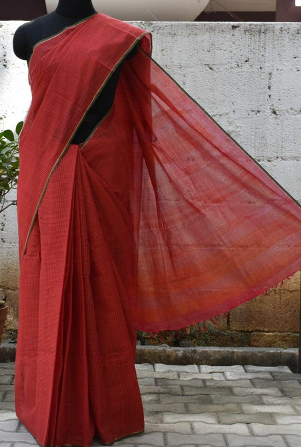Red checks hand woven kanchi cotton saree -0