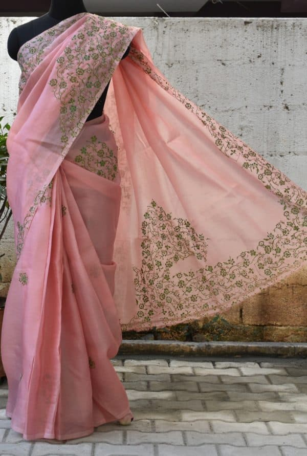 Peach and green embroided organza saree-0