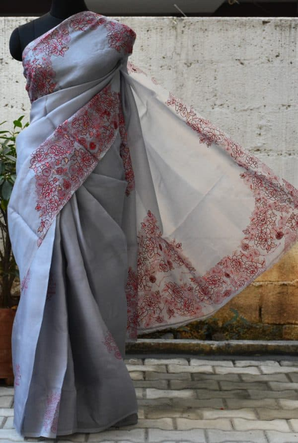 Grey and red embroided organza saree-0