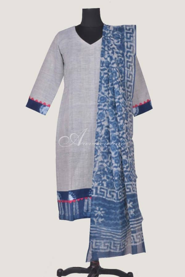 Grey cotton with indigo kota dupatta-0
