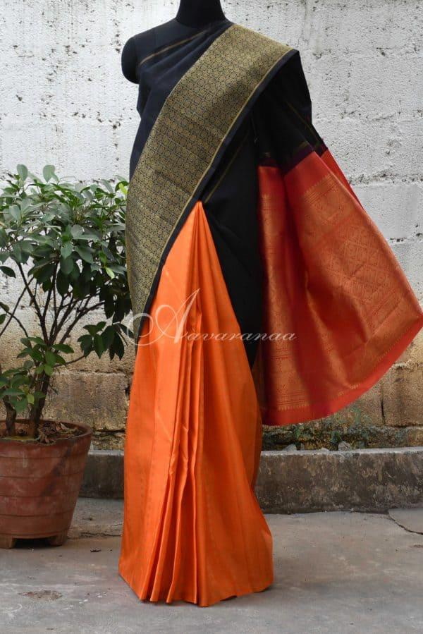 Black and orange shoulder design kanchi silk saree-0