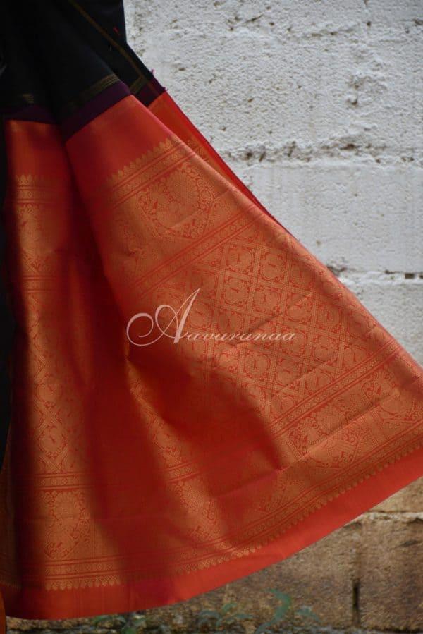 Black and orange shoulder design kanchi silk saree-19931