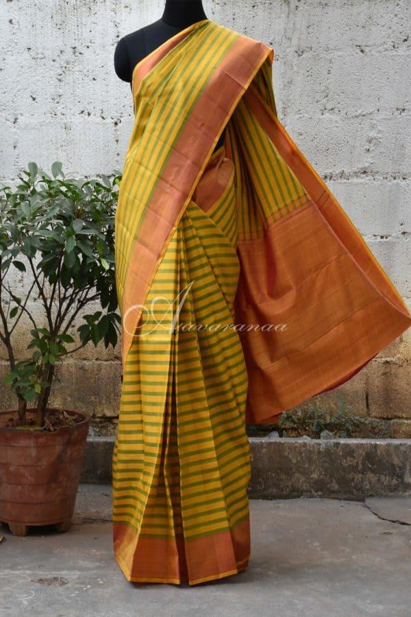 Yellow and green kanchi silk saree-0