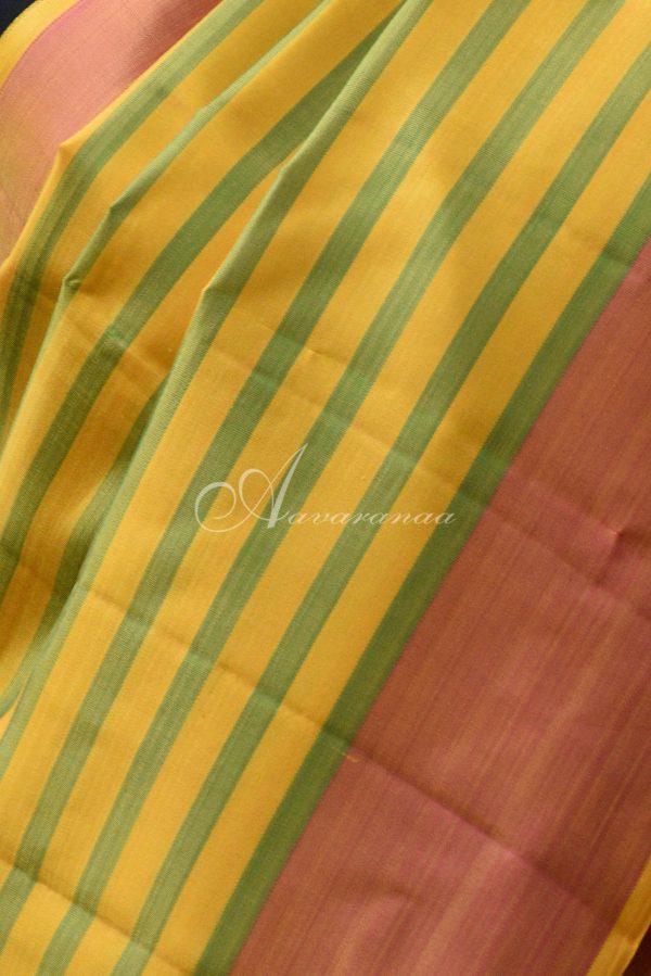 Yellow and green kanchi silk saree-19963