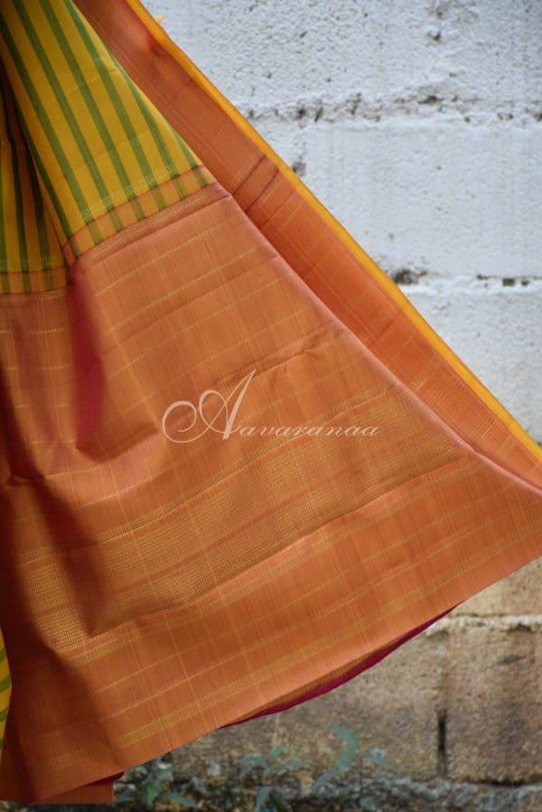 Yellow and green kanchi silk saree-19962