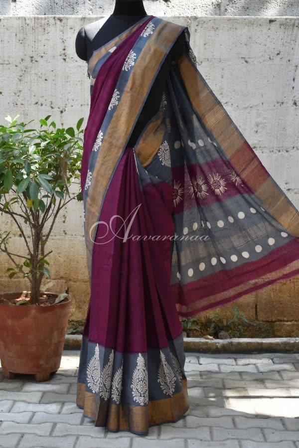 Mejanta and grey tussar saree-0