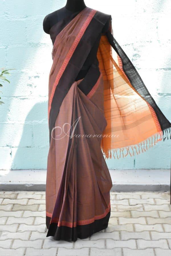 Oil mustrad kanchi cotton with silk border saree-0