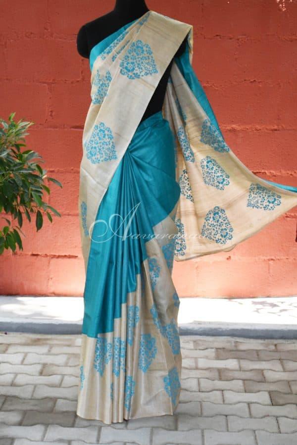 Blue and beige raising style tussar saree-0