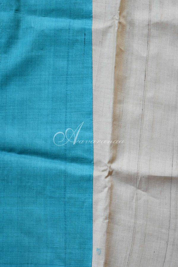 Blue and beige raising style tussar saree-20027