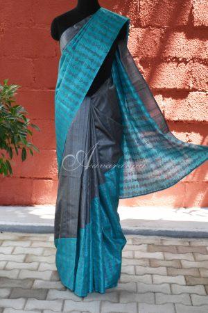 Grey and blue raising style tussar saree-0