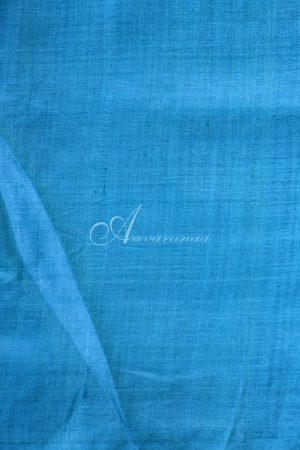 Grey and blue raising style tussar saree-20037