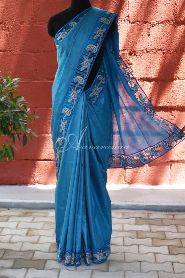 Blue tussar cutwork saree-0