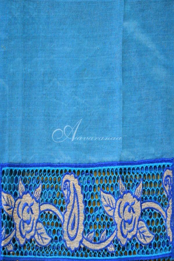 Blue tussar cutwork saree-20041