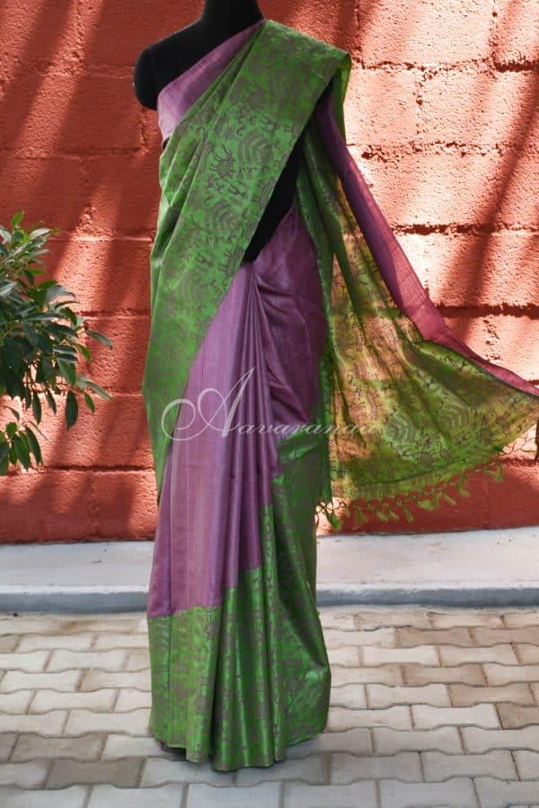Purple and green raising style tussar saree-0