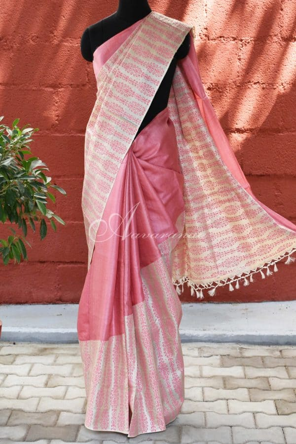 Pink and beige raising style tussar saree-0
