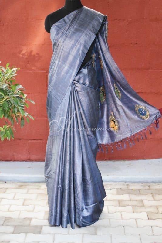 Grey with kalamkari face applique tussar saree-0