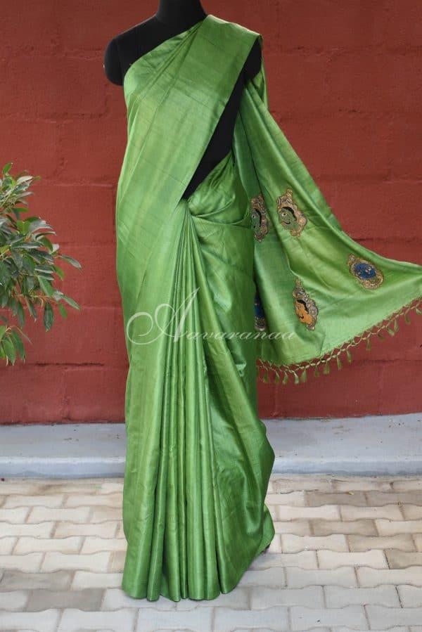 Green with kalamkari face applique tussar saree-0