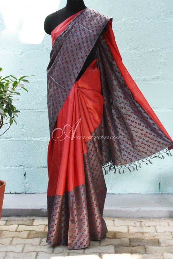 Red and grey raising style tussar saree-0