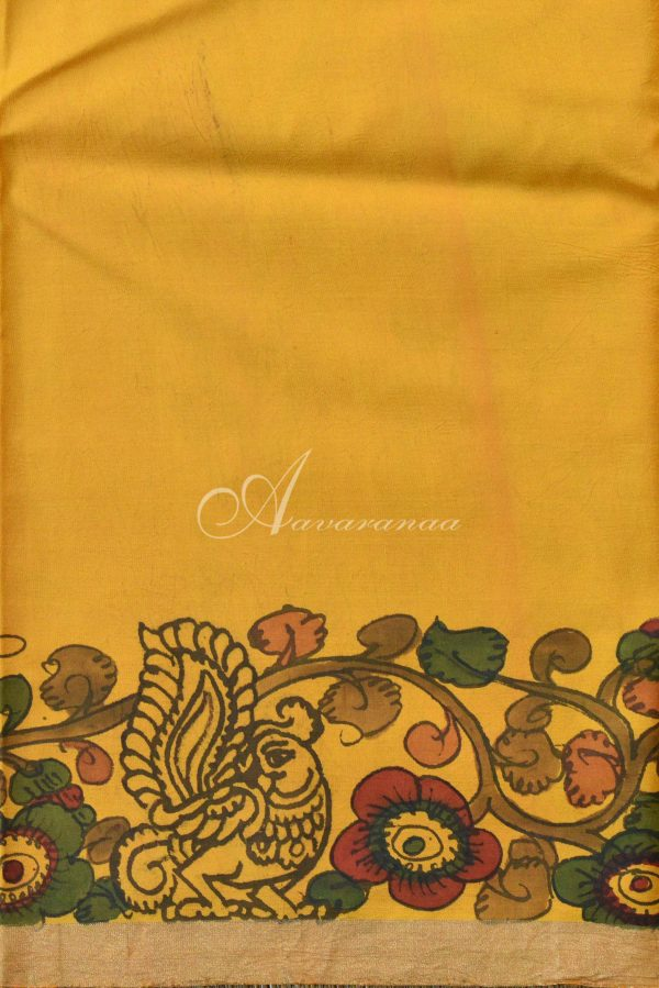 Mustard hand painted kalamkari kanchi silk saree-20070