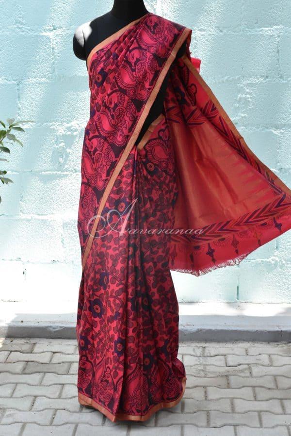 Pink hand painted kalamkari kanchi silk saree-0