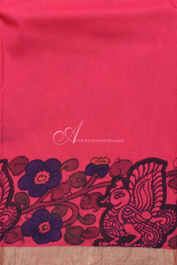 Pink hand painted kalamkari kanchi silk saree-20074
