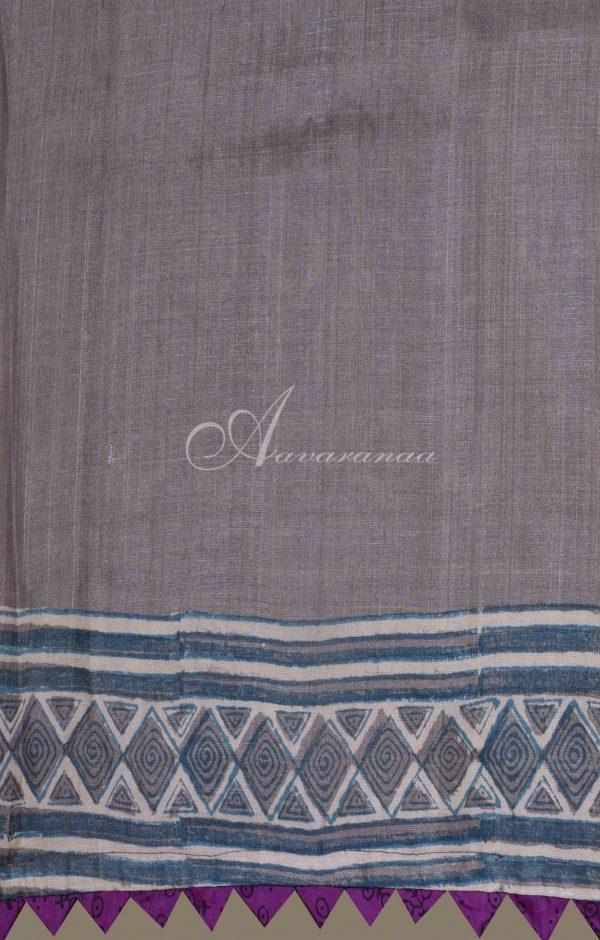 Grey tussar saree -19992