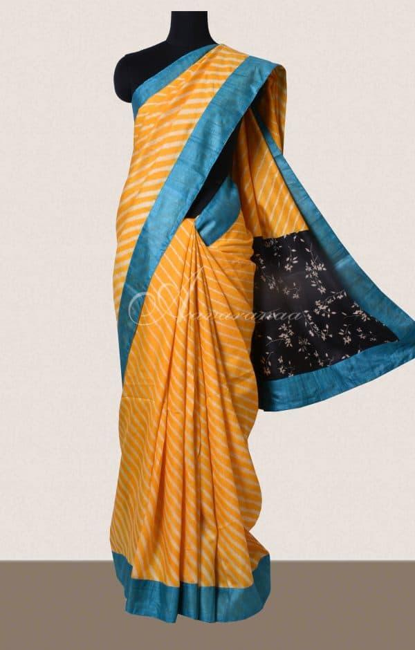 Yellow tussar saree -0