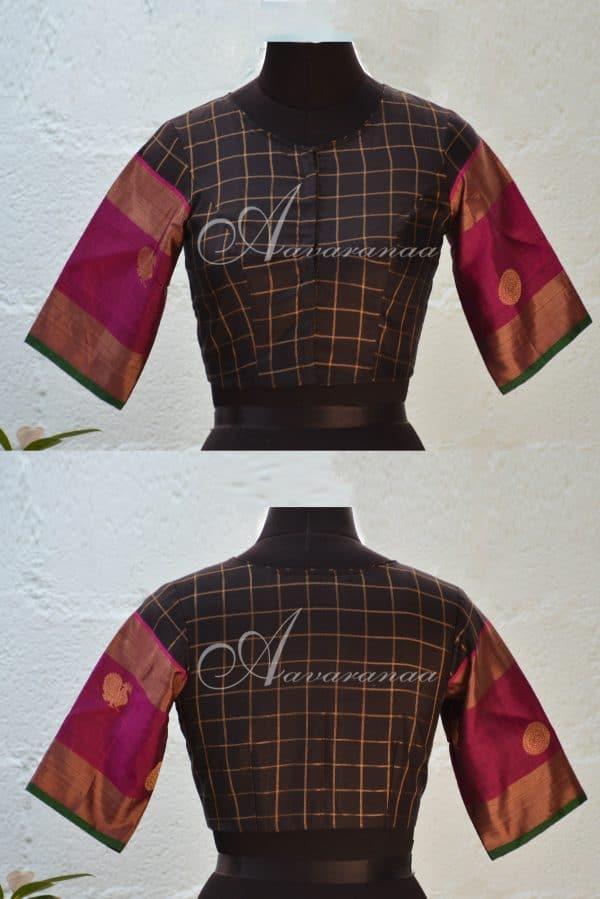 Black and majenta checks kachi silk blouse-0