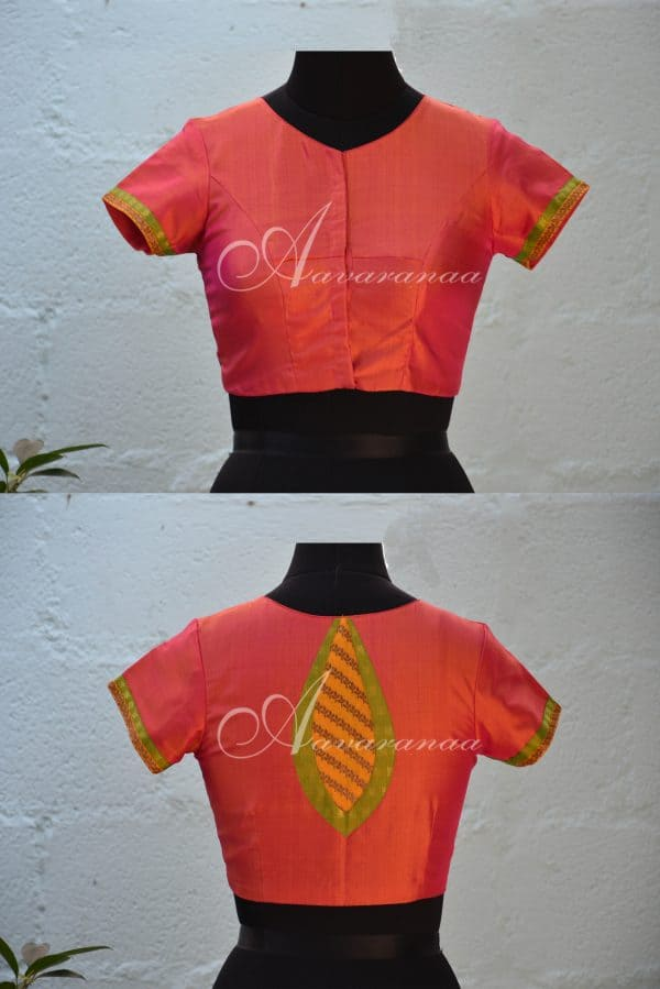 Peach kachi silk blouse-0