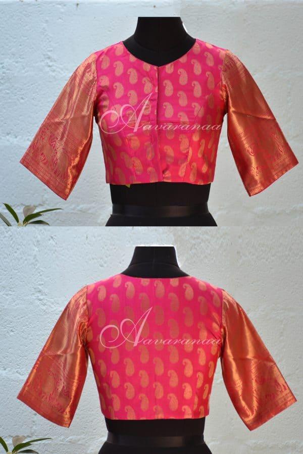 Pink pure zari kachi silk blouse-0