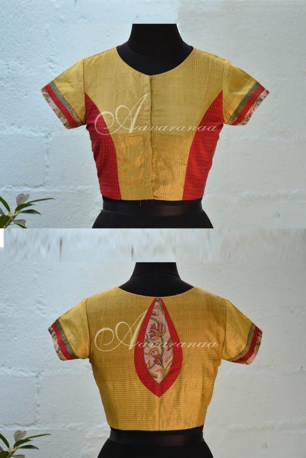 Green and red sari tussar blouse-0