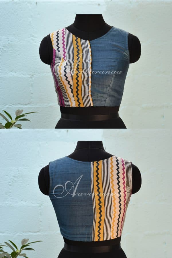 Grey and multicolor half and half tussar sleeveless blouse-0