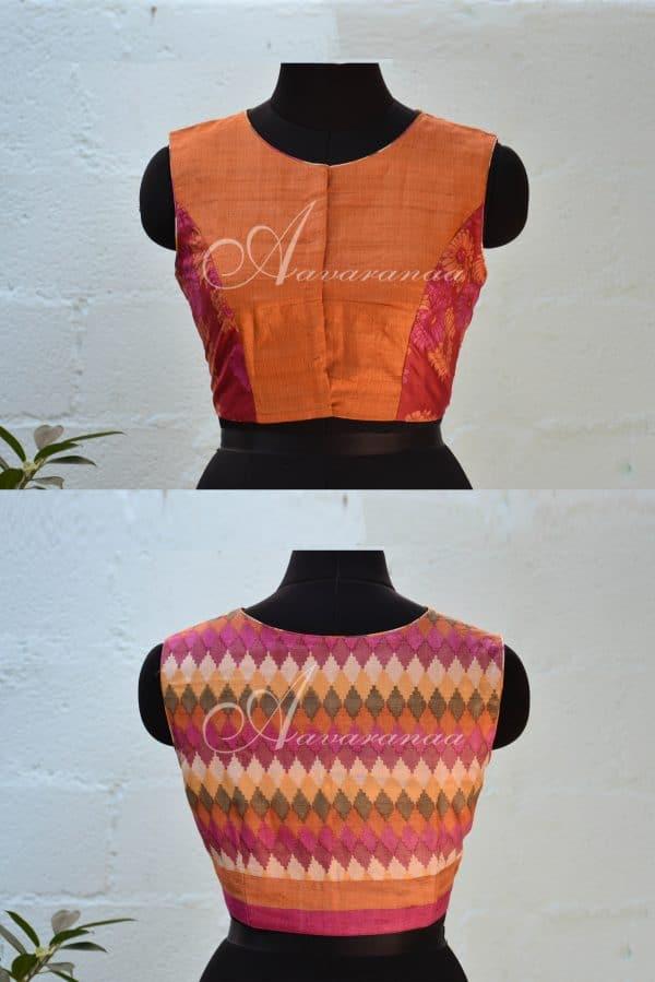 Orange and pink zig zag tussar sleeveless blouse-0