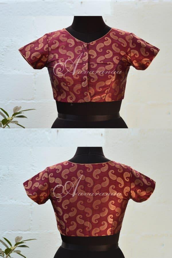 Maroon pure zari kanchi silk blouse-0